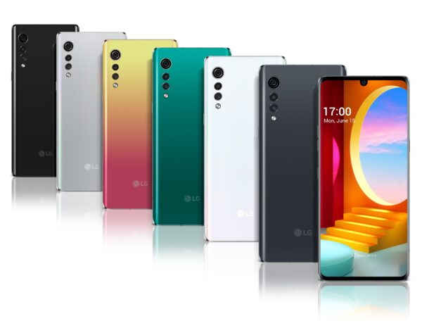 Front and rear view of LG VELVET in New Black, Aurora Silver, Illusion Sunset, Aurora Green, Aurora White and Aurora Gray
