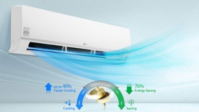 A concept image showing air burst from an LG DUALCOOL air conditioner with Dual Inverter Compressor™