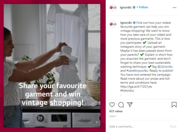 The LG Nordic Instagram page's post showing a woman holding a delicate white shirt in front of LG's AI DD washing machine