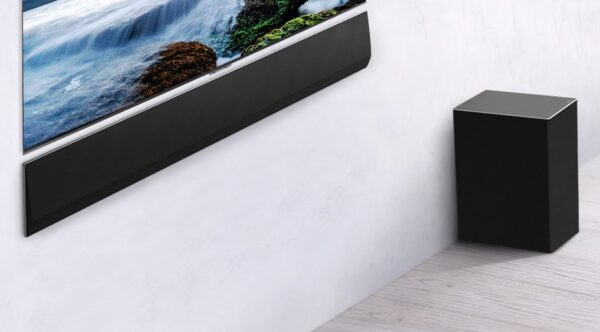 LG's GX Soundbar is placed under LG GX Gallery OLED series TV