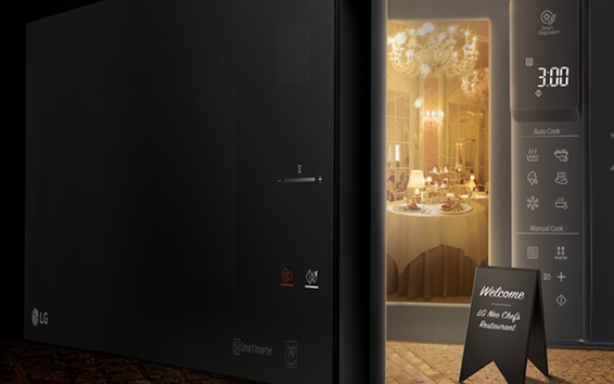 A creative image of the LG NeoChef microwave oven with its door opening to reveal a fancy restaurant inside