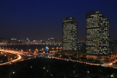 A picture of LG Twin Towers at night