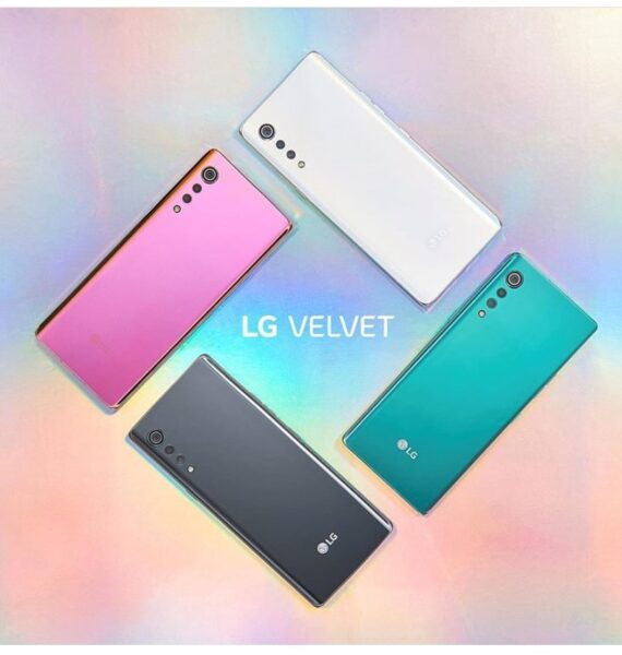 The four beautiful color options of the new LG VELVET smartphone