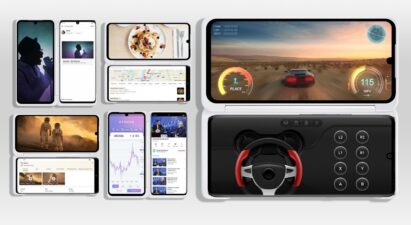 An image illustrating the various ways LG VELVET can be used while attached to its Dual Screen
