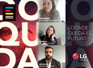"A promotional image for LG's ""¿Dónde queda el futuro?"" podcast introducing three of its hosts"