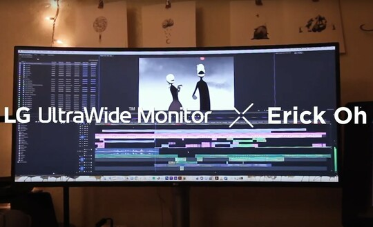 Former Pixar animator Erick Oh's work shown on the expansive, high-resolution screen of LG's newest UltraWide monitor