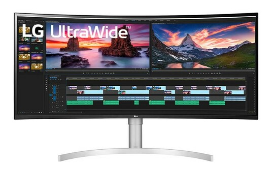 Front view of LG's leading 21:9 aspect ratio UltraWide monitor displaying video/photo editing software