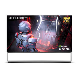 LG 8K OLED TV displaying fast-paced gameplay in smooth and vivid 8K resolution with the LG OLED AI ThinQ, Real 8K, and NVIDIA G-Sync logos in the corners of the screen
