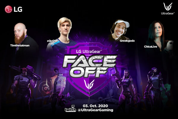 Poster for the LG UltraGear FACE-OFF tournament airing live on October 3 with popular Twitch streamers, TimTheTatman, xQcOW, Greekgodx, and ChicaLive