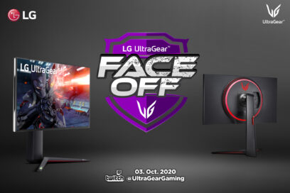 Front and rear views of the LG UltraGear displaying high-quality gameplay with the LG UltraGear FACE-OFF logo in between them