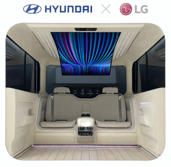 A view of the IONIQ Concept Cabin's two back seats with the flexible OLED display covering the ceiling