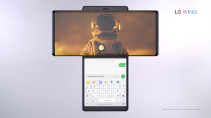 Screenshot of the LG WING product video, displaying the front view of LG WING in Swivel Mode with a video playing on the Main Screen and Messages app on the Second Screen
