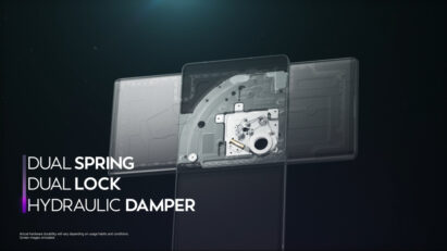 Screenshot of the LG WING product video, displaying the internal components of Dual Spring, Dual Lock and Hydraulic Damper in LG WING