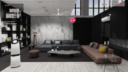 The living room of the Home Appliance and Air Solution's virtual home, showing more information on LG's PuriCare and DualCool lineups