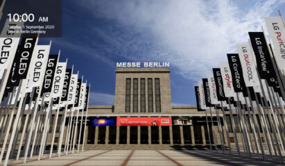 A render image of Messe Berlin's Hall 18 at IFA 2020, featuring flags of LG's wide-ranging lineups to be showcased at the event
