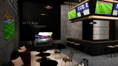 The online tour's Virtual Sports Bar featuring many LG OLED TVs and its projector perfect for catching all the fast-paced sporting action live