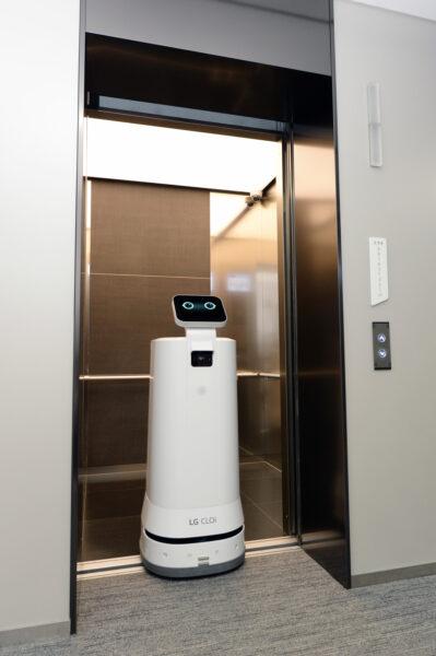 LG CLOi ServeBot exiting an elevator