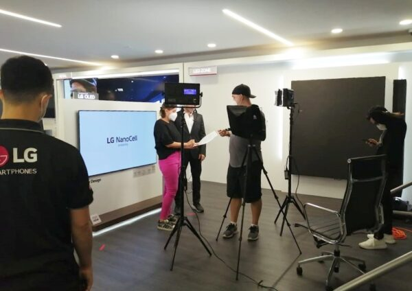 LG staff working on set as they prepare for the official LG OLED launch event in Panama