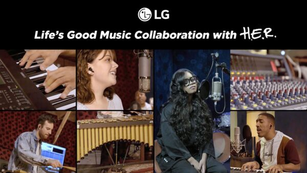 A photo collage for the Life's Good Music Collaboration with H.E.R. showing the instruments used and performers recording as the campaign progressed