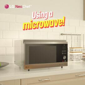 The LG NeoChef™ microwave, which provides various cooking options, below the caption, 'Using a microwave!'