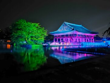 A picture of one of Korea's most famous palaces taken with LG WING's new Night View Mode