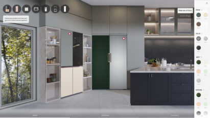 A picture of the virtual showroom to simulate selection of color and finish type of InstaView® and Fridge and Freezer pair from LG Furniture Concept Appliance