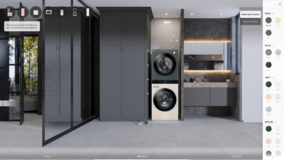 A picture of the virtual showroom to simulate selection of color and finish type of WashTower from LG Furniture Concept Appliance