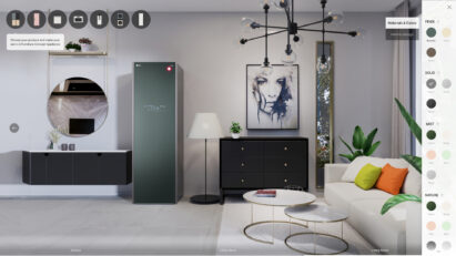 A picture of the virtual showroom to simulate selection of color and finish type of Styler from LG Furniture Concept Appliance