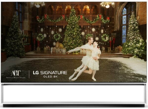 An up-close shot of LG SIGNATURE OLED 8K TV playing the special highlights video of the American Ballet Theater's portrayal of The Nutcracker