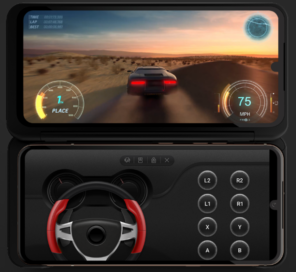 LG V60ThinQ 5G and LG Dual Screen being used to play a racing game with its second screen displaying a steering wheel and other game controls