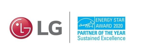 The logos of LG and ENERGY STAR's award for 2020 Partner of the Year through sustained excellence