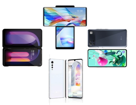 An image of LG V60ThinQ 5G and LG Dual Screen, LG WING, LG VELVET, and a LG K Series device
