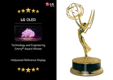 Side-by-side images showing LG OLED TV with its two new honorable titles Technology & Engineering Emmy Award Winner and Hollywood Reference Display on the left, and the Emmy trophy on the right.