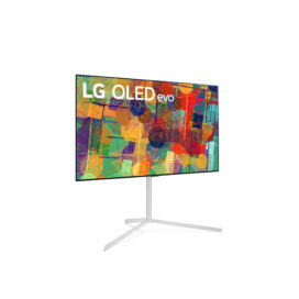 Front left-side view of LG's 65-inch OLED evo G1 on its stand as it displays a colorful abstract artwork on its screen