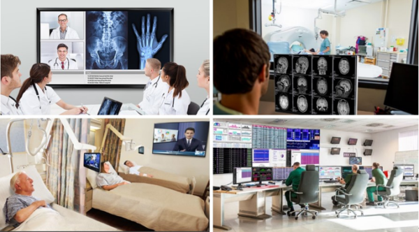 Four pictures taken inside a healthcare facility showing the various applications of LG's B2B solutions in the medical field.