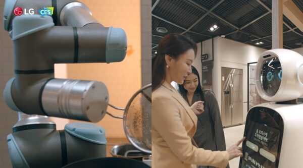 LG CLOi ChefBot is shown cooking on the left, while LG CLOi GuideBot helps two women find their way around a public building on the right.