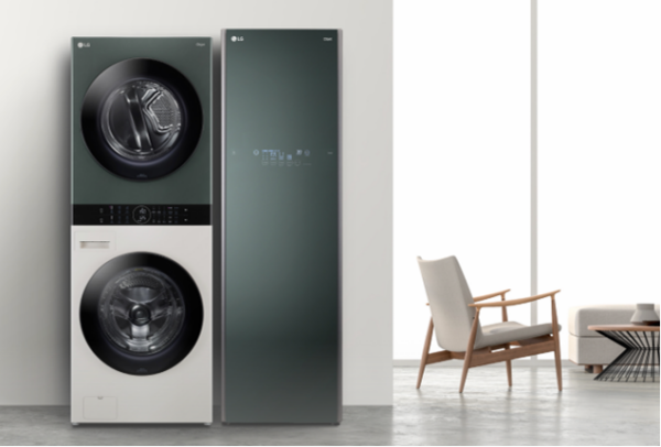 A photo featuring the simple yet exquisite LG Styler, washing machine and dryer.