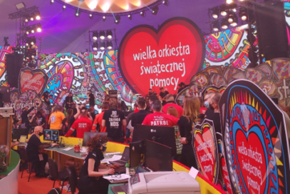 A wide view of the Grand Finale TV studio which is filled with 80 LG monitors so that the company can effectively host its 29th Annual Grand Finale fundraiser.