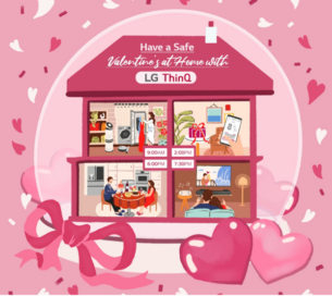 An illustration of a home showing how to spend Valentine's Day with LG's various products.