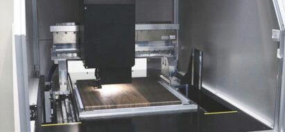 A Wood pattern being applied to an LG Object appliance using a flatbed scanner.