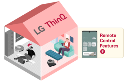 An illustration of a house with a person inside enjoying a more convenient life via the LG ThinQ app's remote-control features.