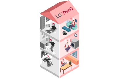 An illustration of a three-story house with people inside conveniently using LG's devices thanks to the LG ThinQ app and its diverse features.