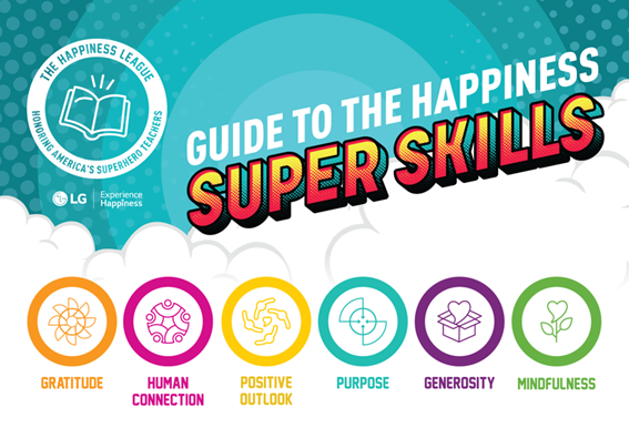 An image listing the six happiness super skills of the superhero teachers who have been honored by The Happiness League.