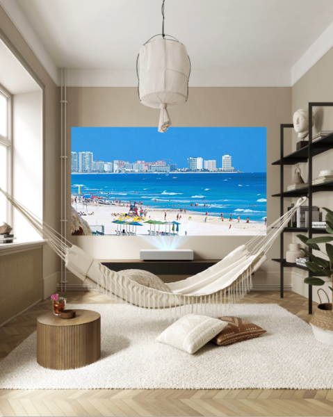 A unique relaxing space at home boasts a hammock and the LG Cine Beam Projector which is displaying clear and vibrant images of a beautiful coastal city on the far wall.