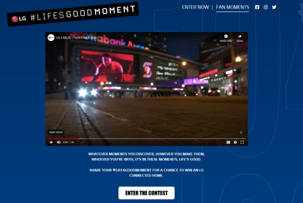 A screenshot of the LG Life's Good Moment webpage where fans can watch a video before clicking a link below to enter the competition.