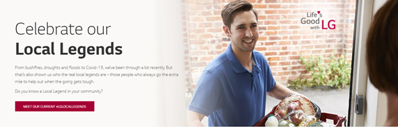 A screenshot of the online gateway to LG's website, featuring Australia's local legends with a man delivering groceries to someone's door.