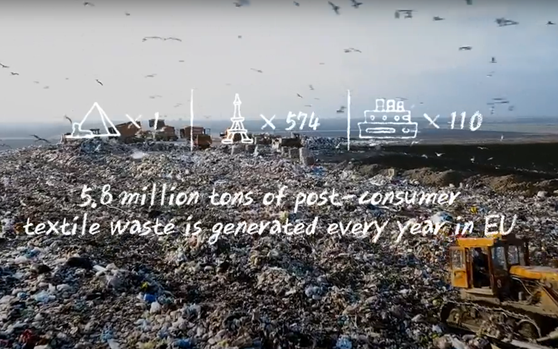 An overflowing landfill with information stating how 5.8 million tons of post-consumer waste is generated every year in the EU.