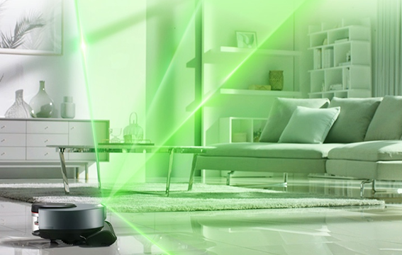 LG CordZero M9 robot vacuum cleaner scanning the size and shape of the room while cleaning.