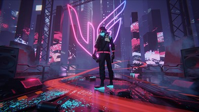 The winning entry of LG's art contest which places the UltraGear logo in the middle of a futuristic city setting with vibrant neon colors and a character standing in the foreground.