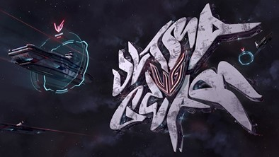 The second-place winner of LG's art contest presents the UltraGear logo as a futuristic space station with graffiti-style UltraGear lettering and futuristic spaceships approaching to dock.